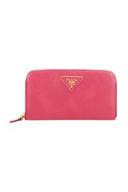 Pre-owned Saffiano Zip Wallet Pink