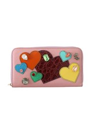 Heart Crystal Continental Clutch Wallet