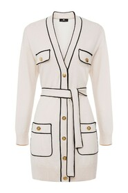 Wool cardigan with contrasting piping