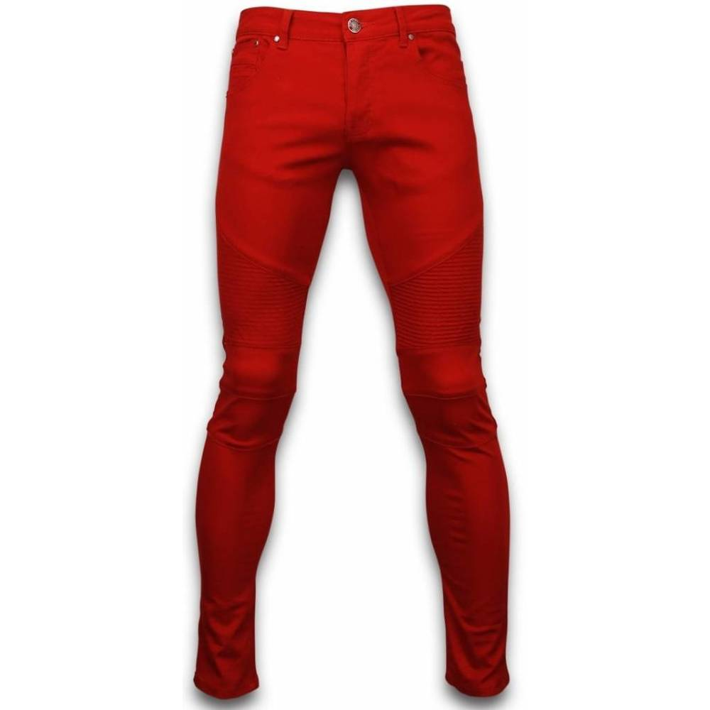 Exklusiva Ribbed Jeans - Slim Fit Biker Colored Jeans - Stiched Knä