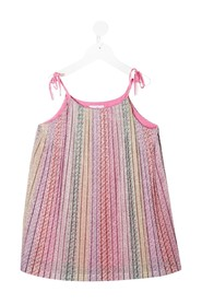 Pleated Dress with allover Logo print