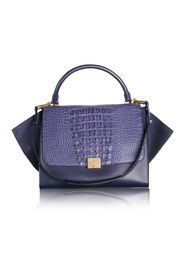Blue Python and Suede Trapeze Tote Bag