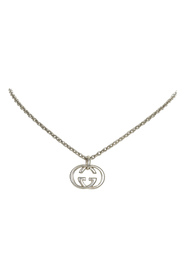 pre-owned Interlocking G Pendant Necklace Metal Brass