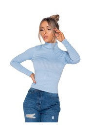 Rib Knit Polo Neck Long Sleeve Top