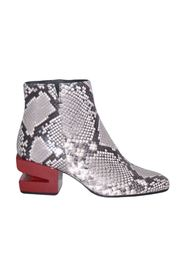 Ankle boots with python-effect heel