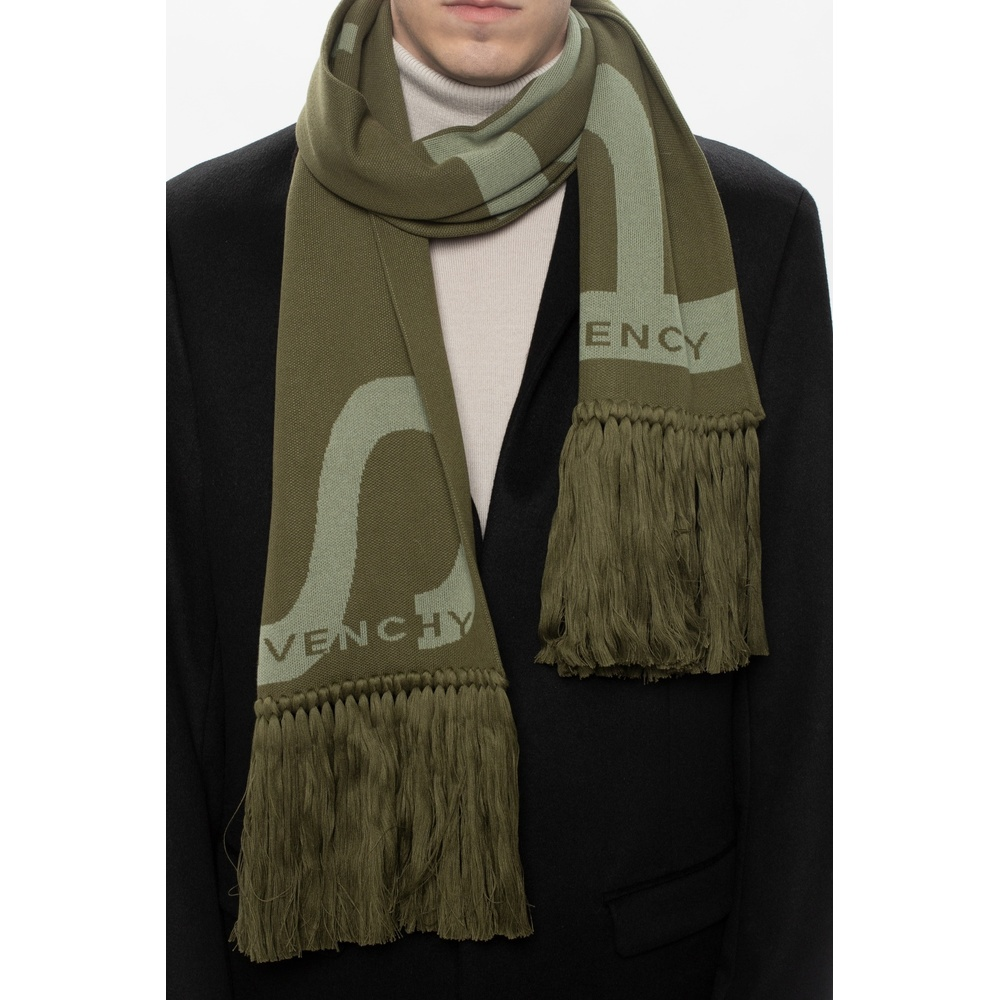 Green Scarf with logo | Givenchy | Sjaals | Heren accessoires