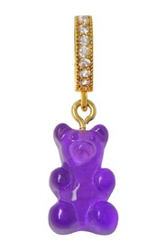 Nostalgia Bear and Pave Connector Pendant in Gold Plated Brass