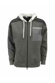 Paneled topwear  with hood and Shiny Patch Pocket