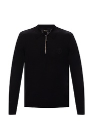Branded knit polo shirt