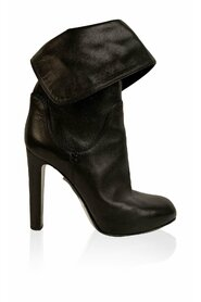 Leather Roll Cuffs Ankle Boots