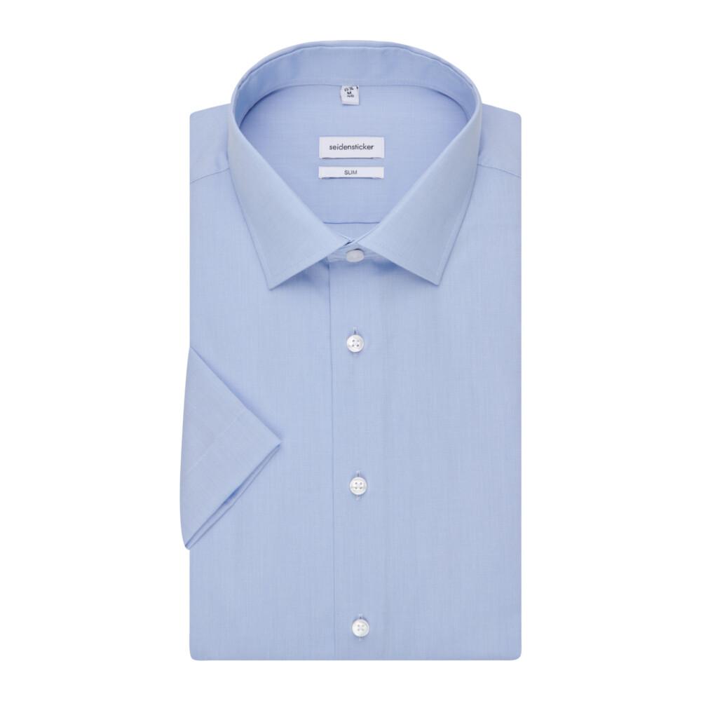 Blue Business Shirt Slim | Seidensticker | Korte mouwen Overhemden | Herenkleding