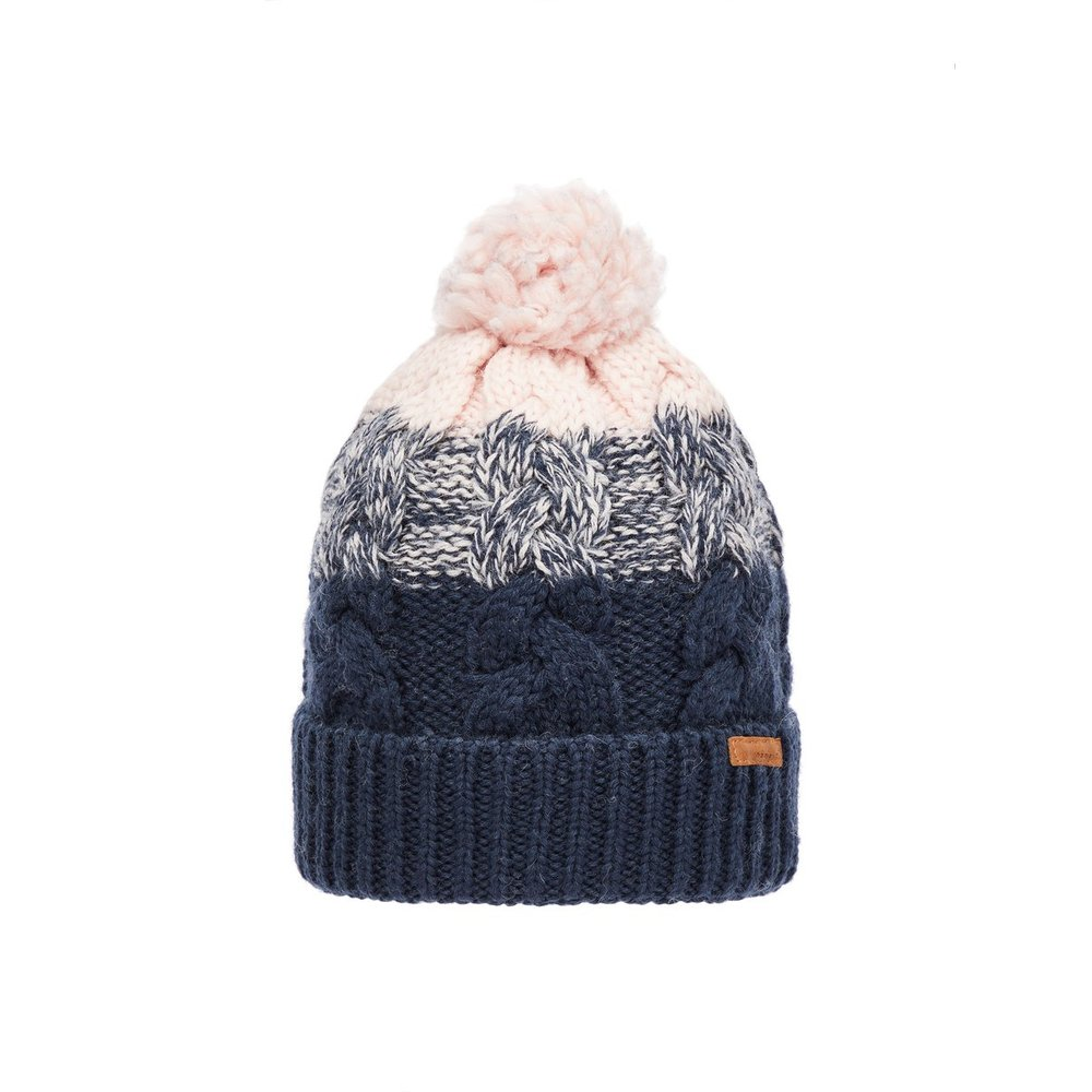 Beanie pom pom cable knit wool