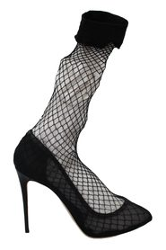 Netted Sock Heels Pumps Shoes