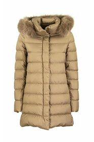 Ultra-light asymmetrical down jacket with fur