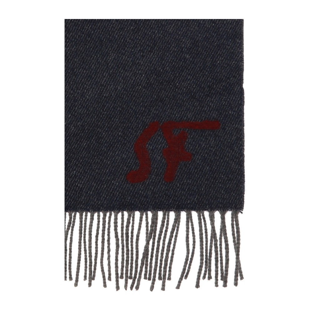 Gray Logo-embroidered scarf | Salvatore Ferragamo | Sjaals | Heren accessoires