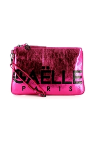 Patent leather clutch bag with logo