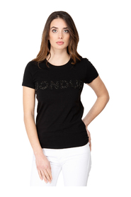 SHORT SLEEVE COTTON T-SHIRT WITH STONE DONDUP WRITING