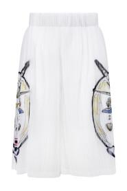 marine print plissé shorts