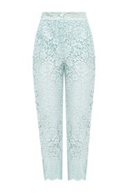 Openwork trousers with lace trim