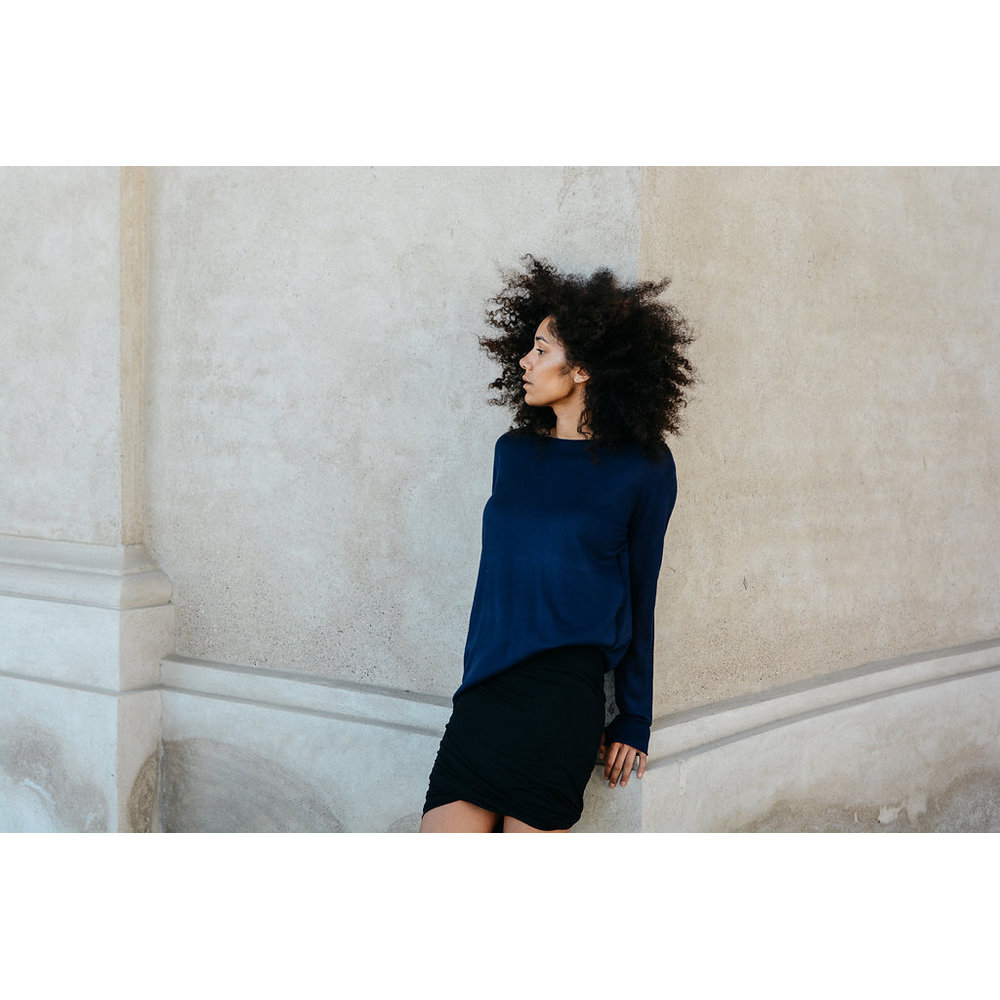 Oh Simple Navy Silk Cashmere Sweater Oh Simple