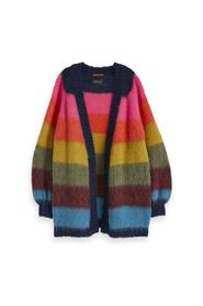 Brushed colorful striped cardigan