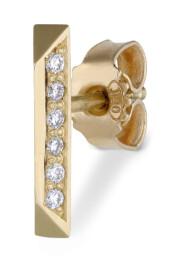 Goldbar ear stud, 18 karat gull med 6 diamanter