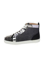 Leather And Woven Fabric Spikes Orlato Flat Sneakers