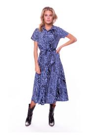 Dalia Zebra Short Sleeve Maxi Shirt Dress