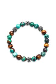 Wristband with Bali Turquoise, Tiger Eye and Indian Silver