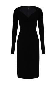 Jersey calf-length dress with sweetheart neckline