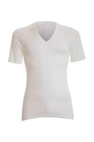 V-neck Cotton Pure White T-shirt