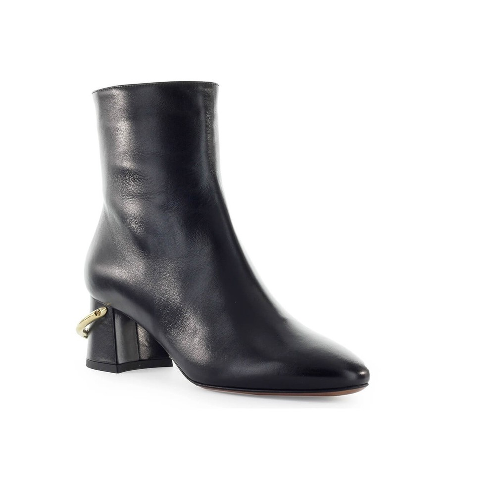 CHOSE BLACK LEATHER ANKLE BOOT