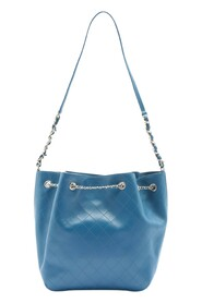 pre-owned leather chain bucket bag
