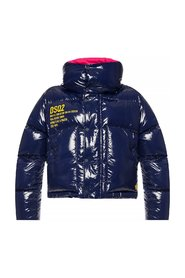 Quilted down jacket with prints