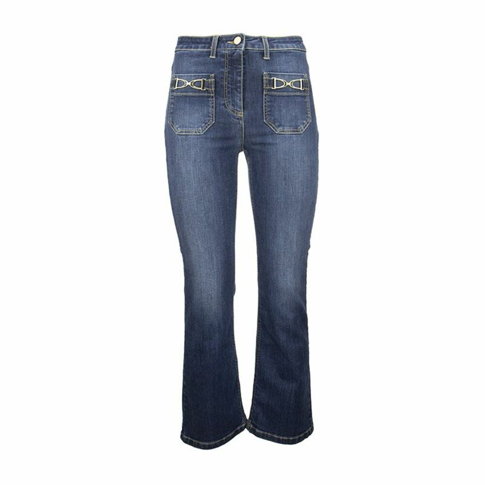 Mini flare jeans with gold brackets