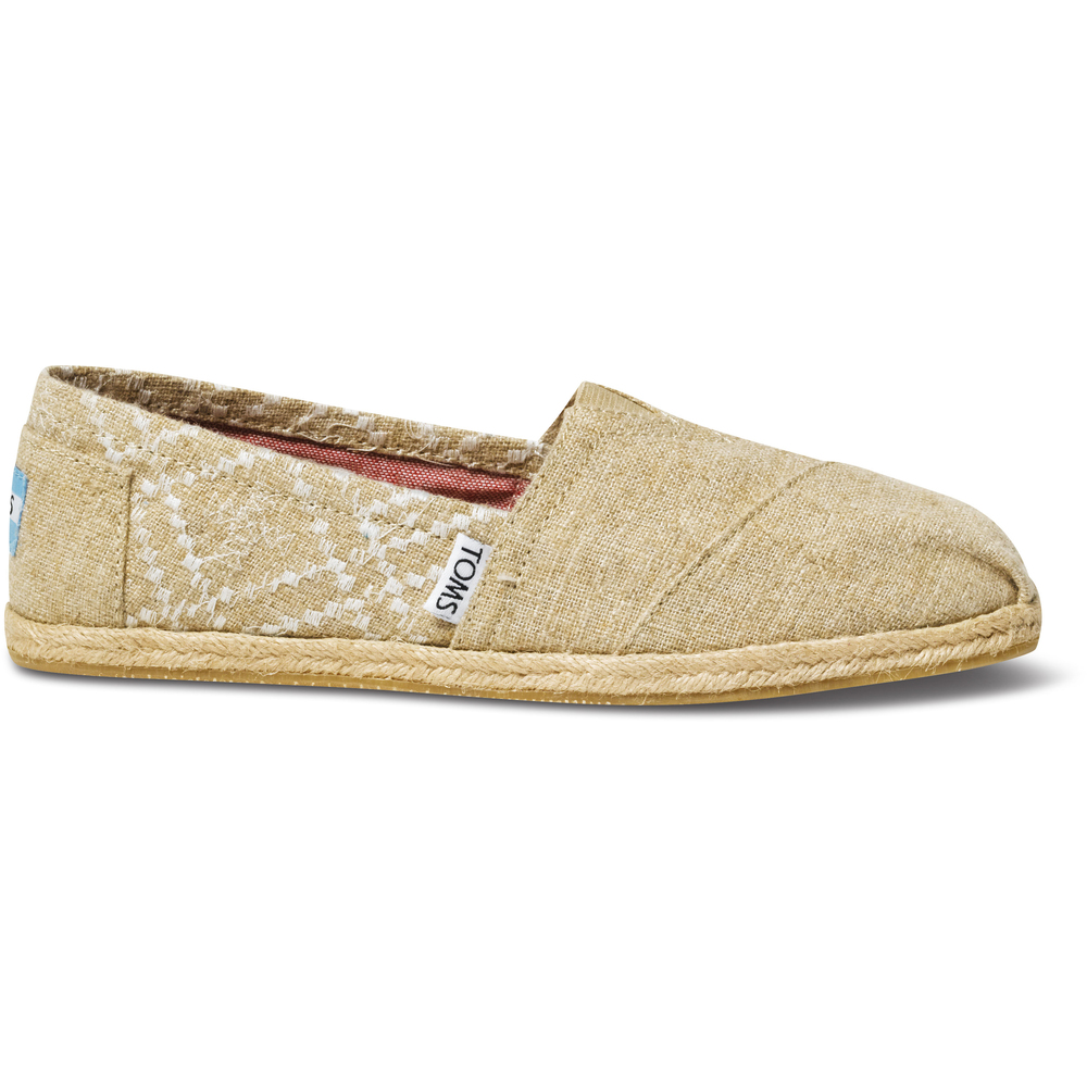 Tan Hemp Embroided Toms Classics