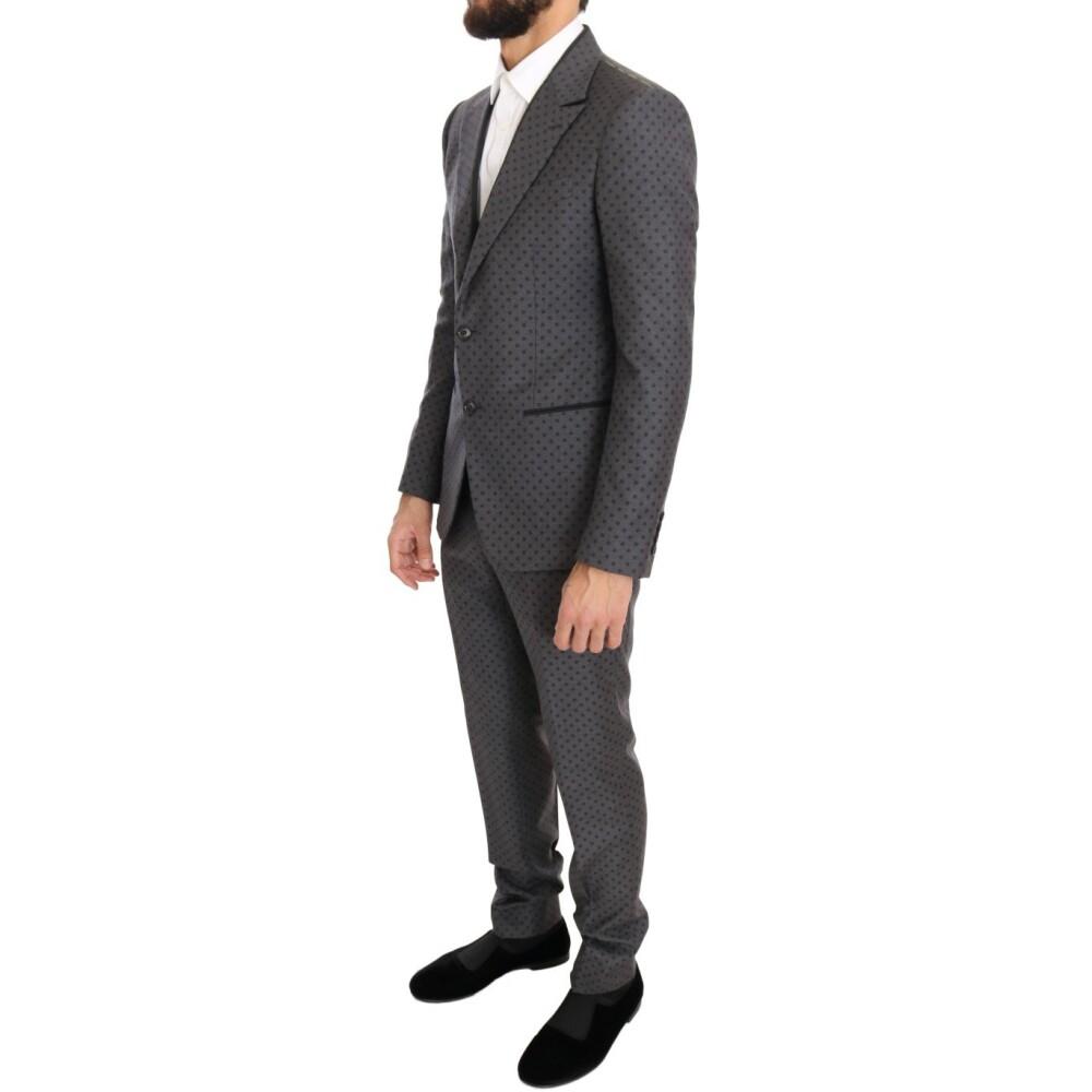 Gray Polka Dotted Slim Fit 3 Piece Suit | Dolce & Gabbana | Garnitury całe - Najnowsza zniżka 2Er3o
