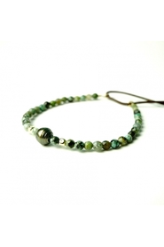 African turquoise bracelet 3mm small Tahitian pearl