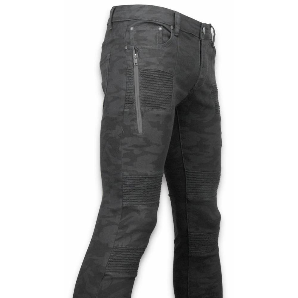 Exclusive Ripped Jeans - Slim Fit Biker Jeans Camouflage