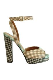 Pre-owned Checkered Peep Toes Sandals