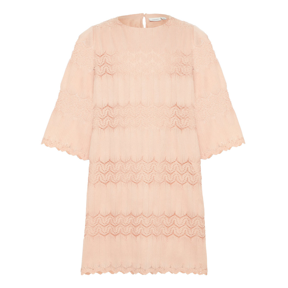 Dress pleated woven a-line