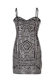 Patterned Strapless Dress