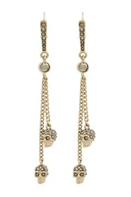 Metallic chain skull earrings