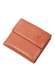 Pre-owned Camellia Embossed Small Compact Flap