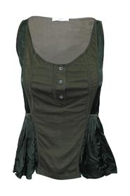 Brown And Dark Green Top With Buttons -Pre Owned Condition Good