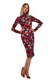 Sukienka We Wzór Dopasowana Z Półgolfem