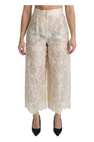 Lace High Waist Palazzo Cropped Pants