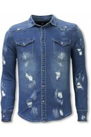 Denim Shirt - Slim Fit Damaged Allover