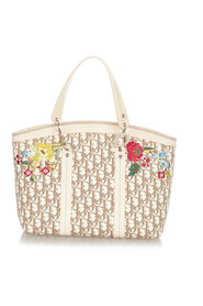 pre-owned Oblique Floral Canvas Tote Bag Fabric