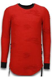 Destroyed Look Trui - Side Laces Long Fit Sweater
